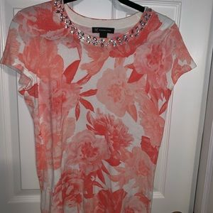 INC. coral/white floral top